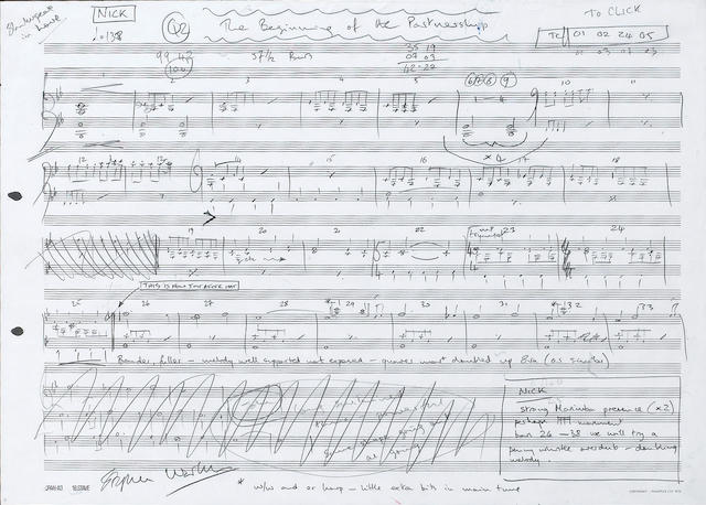 Stephen Warbeck: A handwritten score for 'The Beginning of the Partnership' from 'Shakespeare In Love',