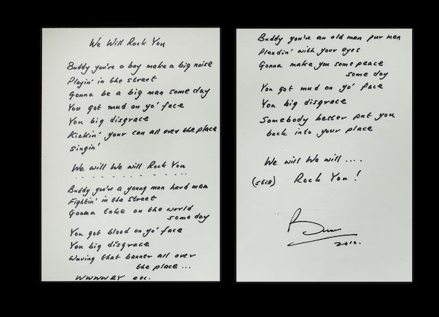 Brian May: A set of handwritten lyrics for the Queen song 'We Will Rock You', 2010,
