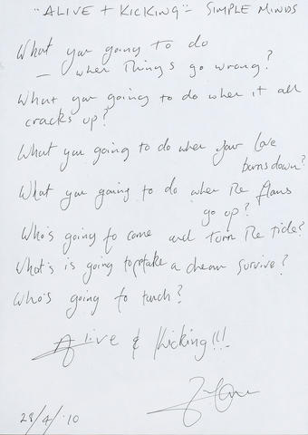 Simple Minds: A set of handwritten lyrics by Jim Kerr for 'Alice and Kicking', 2010,