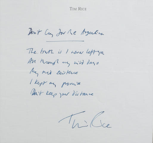 Sir Tim Rice: A part set of handwritten lyrics for 'Don't Cry For Me Argentina',