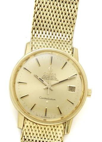 Omega. An 18ct gold automatic calendar bracelet watch Constellation, 1970's