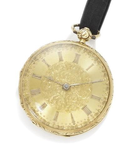 Fred K. Chenery. An 18ct gold open face pocket watch Hallmarked London 1840, number 40.127