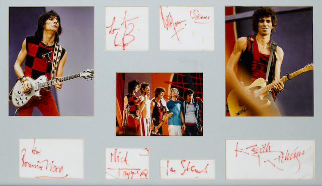 An unusual set of Rolling Stones autographs, circa early 1980s,