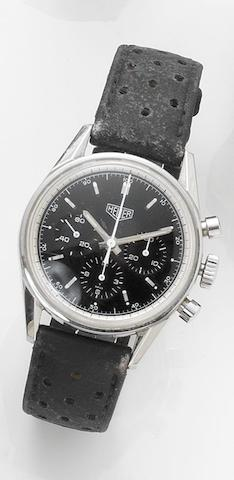 Heuer. A stainless steel manual wind chronograph re-edition wristwatch Carrera, reference CS3111, case number ZT5669, sold 5th September 2001