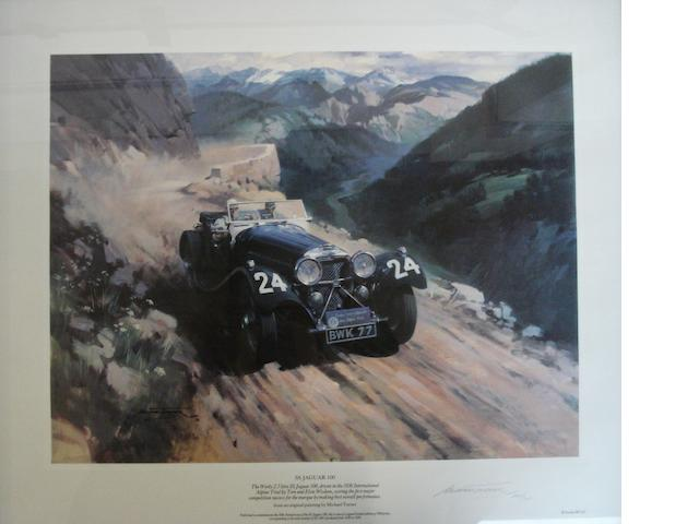 'SS Jaguar 100', a signed print after Michael Turner,