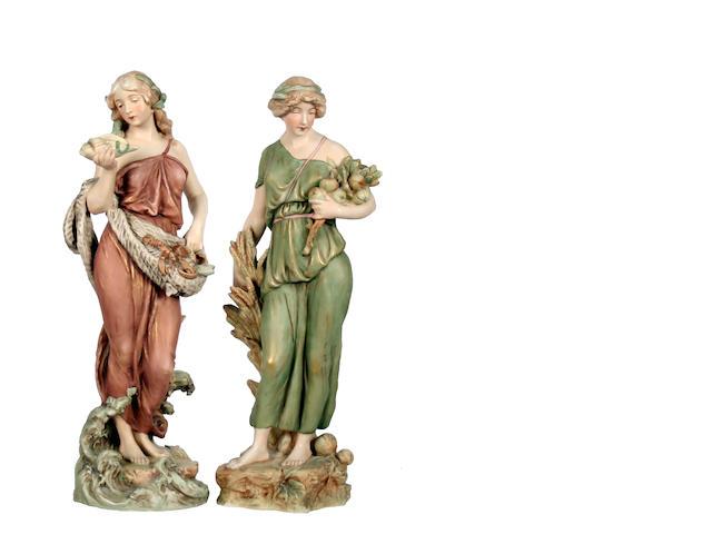 A pair of Royal Dux figures  Circa 1900