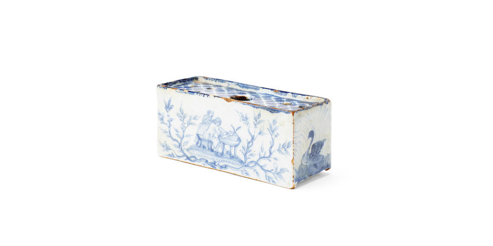 A rare delft flower brick  18th century