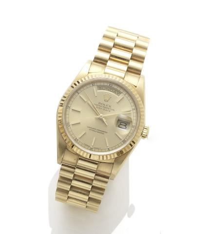 Rolex. An 18ct gold automatic bracelet watchDay-Date, reference: 18238, case number: L432101, circa 1989