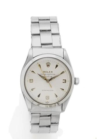 Rolex. A stainless steel automatic wristwatch Air-King, Oyster-Perpetual, Reference: 5500, Case Number: 986549, circa 1953