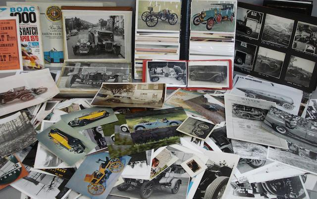 A quantity of photographs depicting pre war road cars,