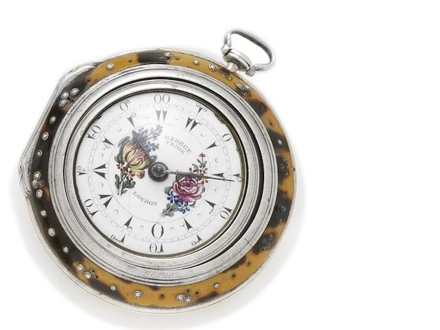 George Prior. A silver and tortoiseshell triple cased watch Number 9149, produced for the Turkish market, hallmarked London 1775