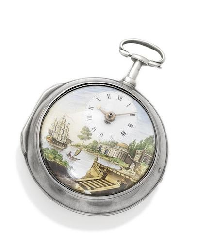 William Pybus. A silver pair cased key wound watch with painted enamel dialNumber 1020, hallmarked London 1787