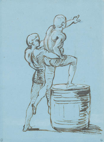 Théodore Géricault (Rouen 1791-1824 Paris) A male figure assisting another on to a barrel, a study for The Raft of the Medusa