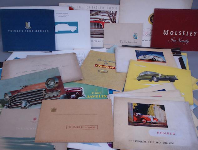 A quantity of assorted sales brochures,