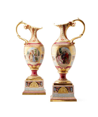 A pair of Vienna porcelain ewers Late 19th century