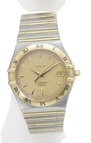 Omega. A stainless steel and gold quartz wristwatch with perpetual calendar Constellation, Sold 29th May 1999