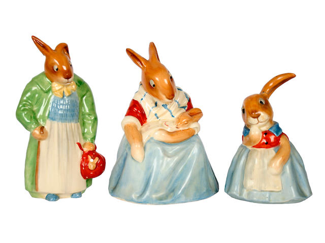 Bunnykins A group of Royal Doulton Bunnykins figures, designed by Charles Noke