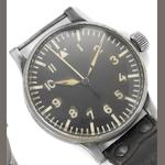 Wempe. A large base metal German Military World War II observation wristwatch Case back numbered 412, band numbered FI 23883