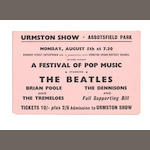 A rare ticket for the Beatles at the Urmston Show, Abbotsfield Park, 5th August 1963,