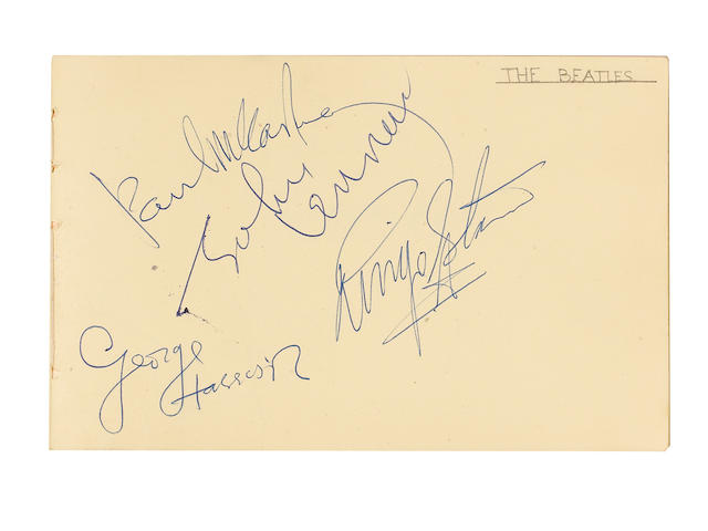 An autograph book containing the signatures of the Beatles and the Rolling Stones, 1960s,