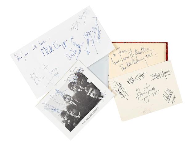 Rolling Stones/Beatles autographs, 1960s,