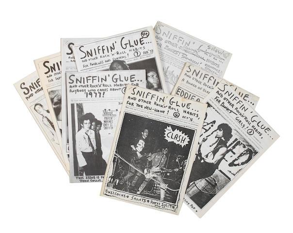 A near-complete run of the punk fanzine 'Sniffin' Glue',
