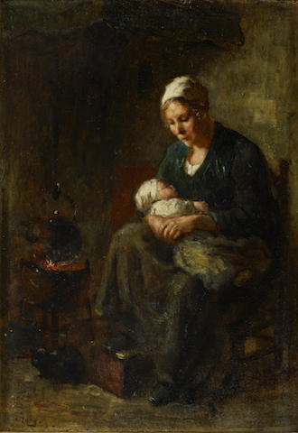 Bernard de Hoog (Dutch, 1867-1943) 'By the fireside'