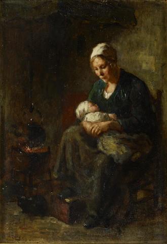 Bernard de Hoog (Dutch, 1867-1943) 'By the fireside'