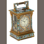 A good early 20th century French champleve enamel repeating carriage clock of small size  Benetfink & Co., London, number 2018