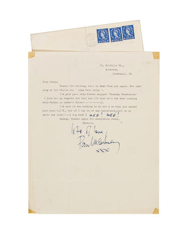 A letter from Paul McCartney to a fan,