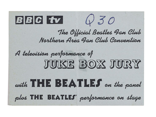 A ticket to the Beatles' appearance on 'Juke Box Jury' and Fan Club concert, Saturday, 7th December 1963,