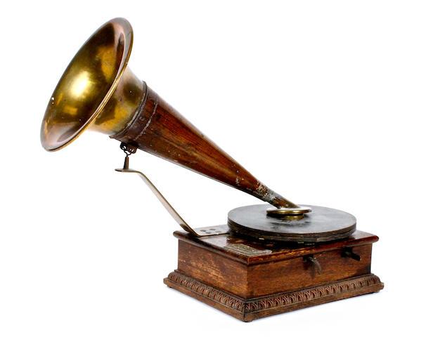 A rare Stollwerck improved model gramophone,   model B, circa 1904,