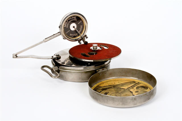A Mikiphone pocket gramophone,