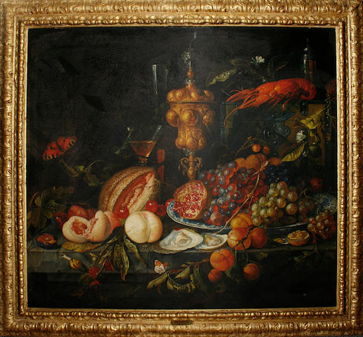 Studio of Miguel Canals (Spanish, 1925-1995), in the manner of Jan Davidsz. de Heem A lobster with a dish of grapes on a table-top