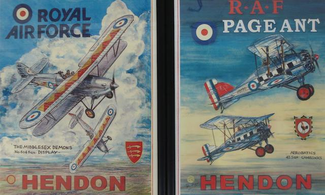 Two prints of Hendon RAF posters after Phil May,
