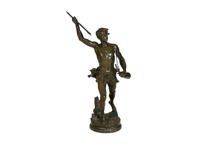 Adrien-Etienne Gaudez, French (1845-1902) A large bronze figure of Acteon
