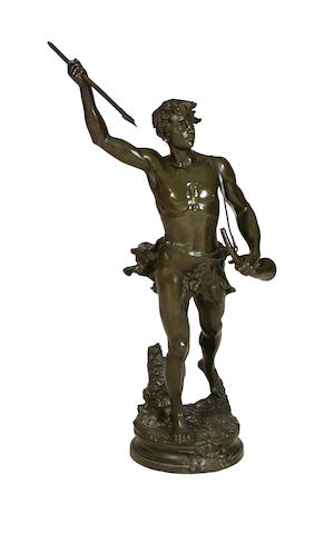Adrien-Etienne Gaudez, French (1845-1902) A large bronze figure of Acteon