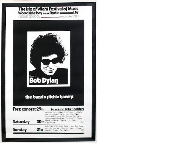 A Bob Dylan/Isle Of Wight Festival poster, 1969,