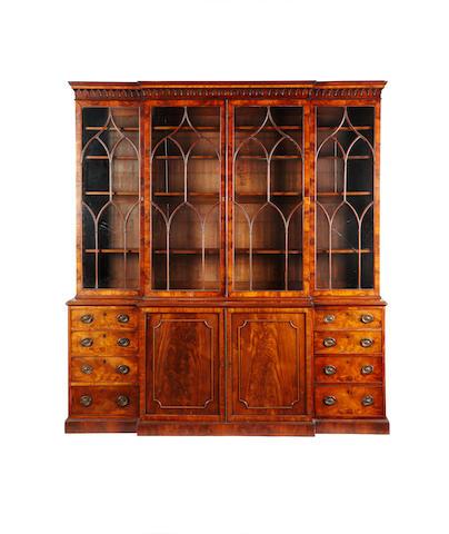 A Regency mahogany break-front bookcase Probably Edinburgh
