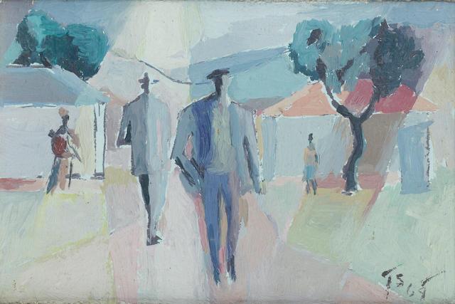 Gerard Sekoto (South African, 1913-1993) Men on an African street