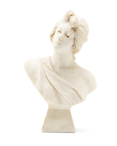 An early 20th century white marble bust of a girl