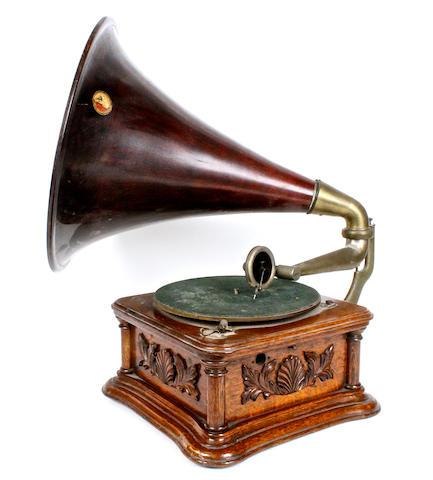 An HMV 'Cockleshell' horn gramophone, circa 1905,