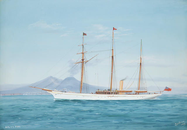 Tommaso de Simone (Italian, 19th/20th Century) The auxilliary Steam Yacht Sybil off Vesuvius unframed
