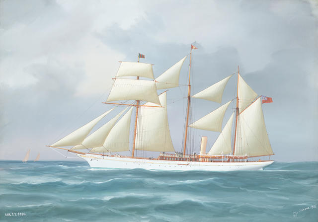 Tommaso de Simone (Italian, 19th/20th Century) The auxilliary Steam Yacht Sybil unframed
