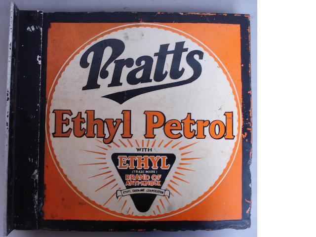 A 'Pratts Ethyl Petrol' double-sided enamel sign,