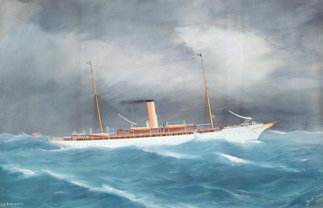 Tommaso de Simone (Italian, 19th/20th Century) The steam yacht Atalanta at sea in a heavy swell