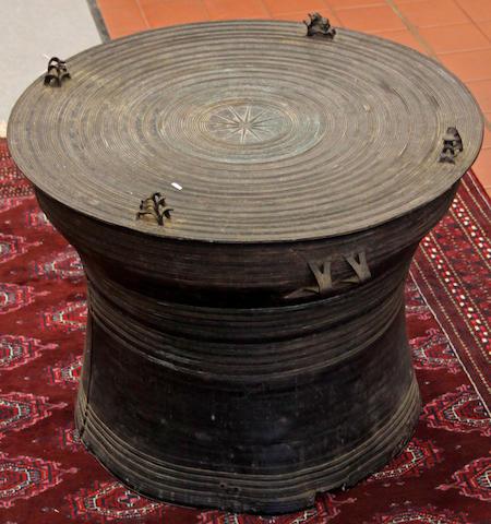 A bronze rain drum, Shan States, 69cm diam. x 54cm high