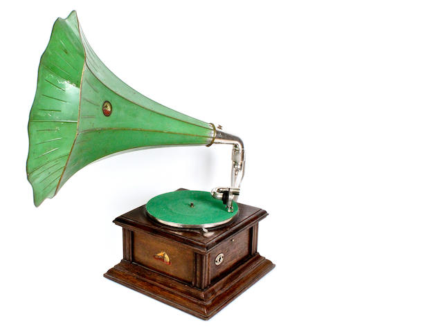 An HMV Intermediate Monarch horn gramophone,  circa 1908,