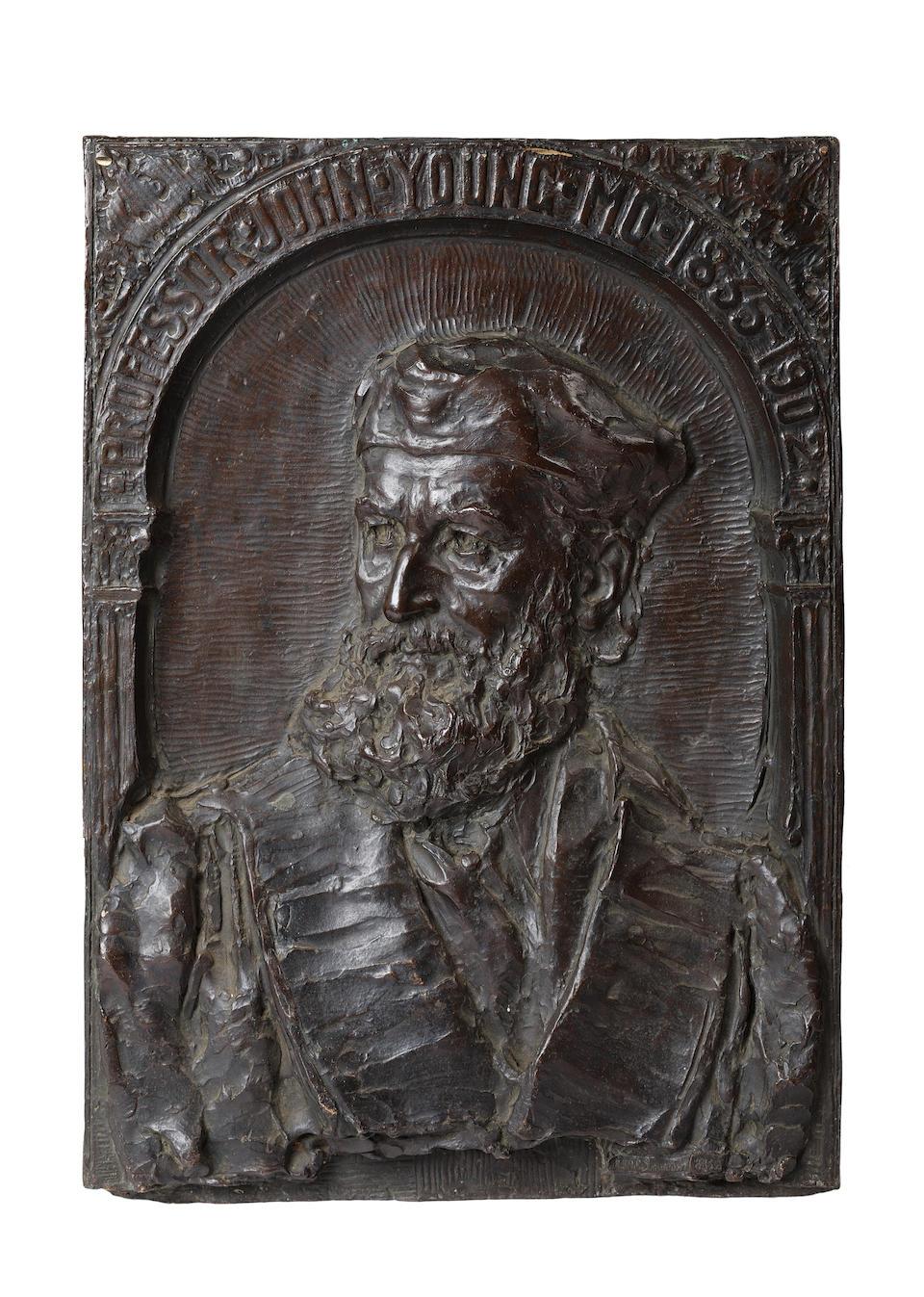 "Archibald McFarlane Shanan (1850-1915)A bronze wall plaque ""Professor John Young"""