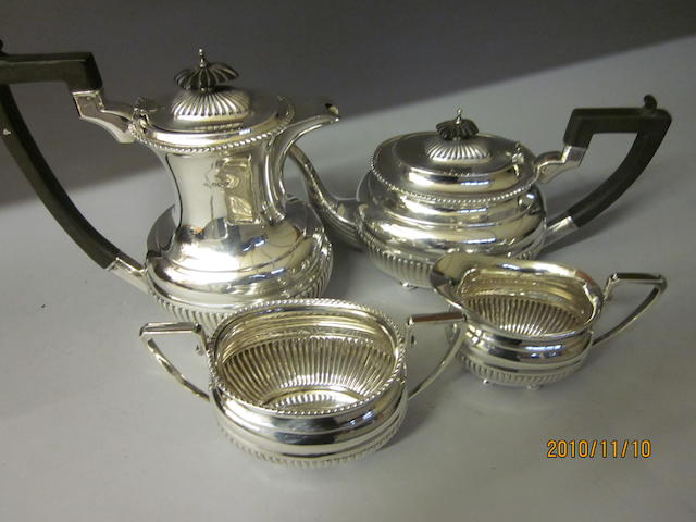 A four piece tea service,  Sheffield 1947,